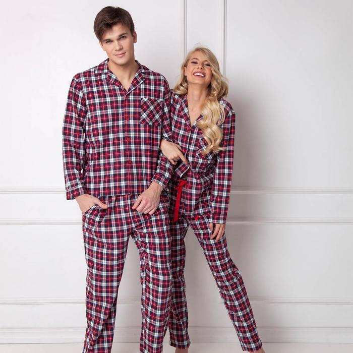 Pijamale barbati Hollis 2 piese, pantaloni lungi, 100% bumbac 2