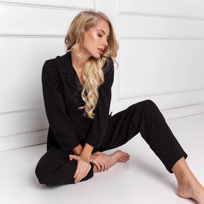Pijamale dama Berthine 2 piese, pantaloni lungi 1