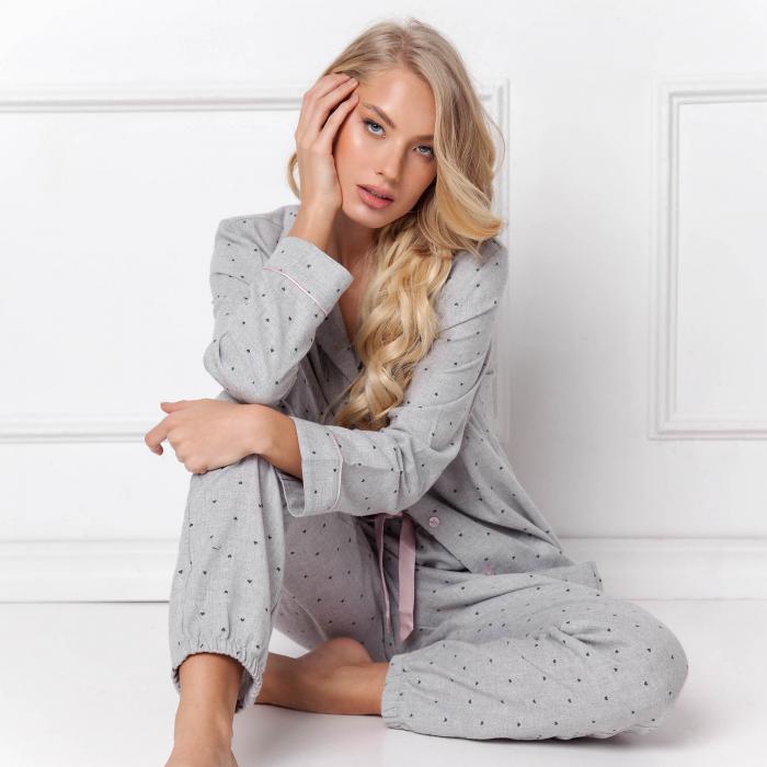 Pijamale dama Christy 2 piese, pantaloni lungi, 100% bumbac 1