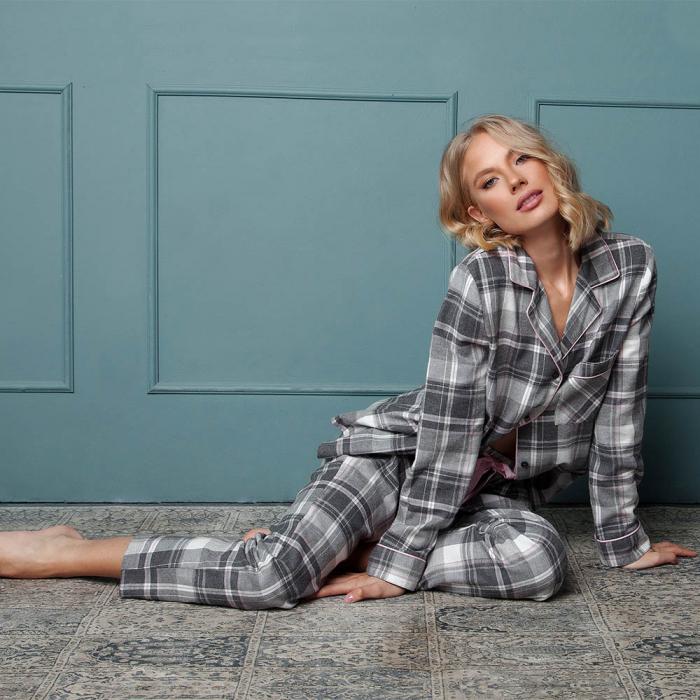 Pijamale dama Marly 2 piese, pantaloni lungi, 100% bumbac 1