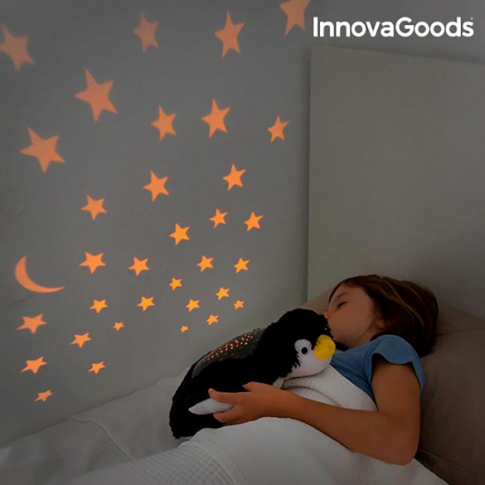 Pinguin de plus cu proiector stele tavan 0