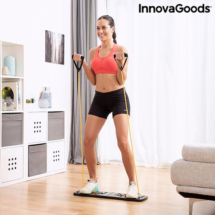 Placa fitness cu benzi elastice de rezistenta si ghid exercitii 4