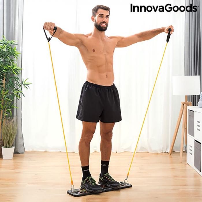 Placa fitness cu benzi elastice de rezistenta si ghid exercitii 1