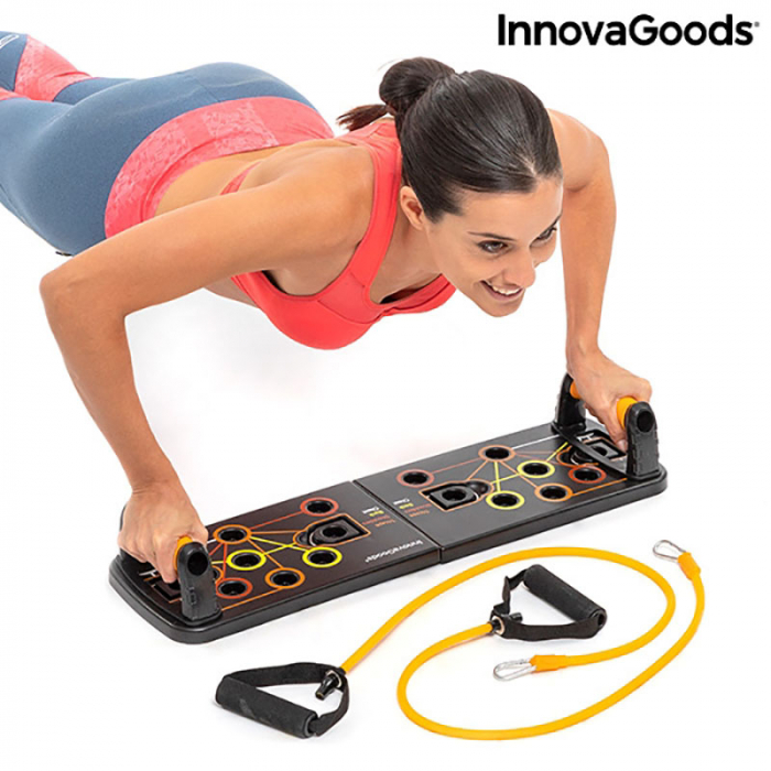 Placa fitness cu benzi elastice de rezistenta si ghid exercitii 10