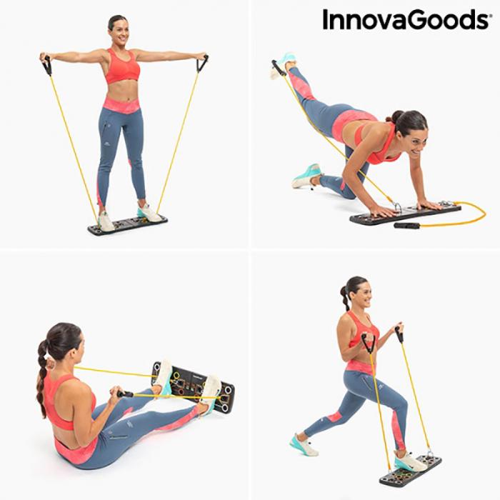 Placa fitness cu benzi elastice de rezistenta si ghid exercitii 11