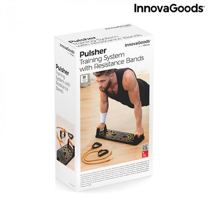 Placa fitness cu benzi elastice de rezistenta si ghid exercitii 15