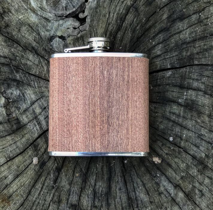 Plosca din otel inoxidabil, imbracata-n lemn, Marron [0]