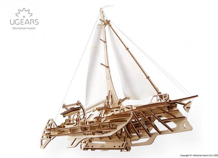 Puzzle 3D Barca Trimaran din lemn Ugears 9