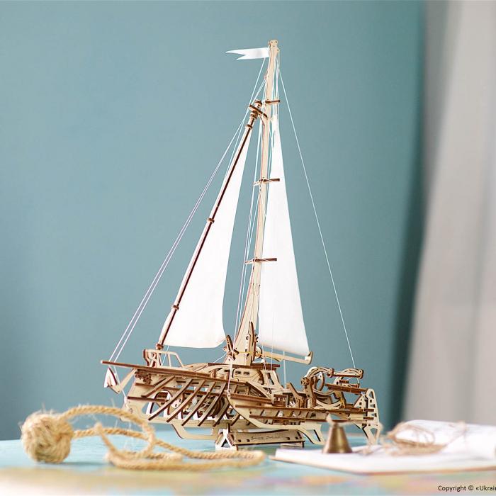 Puzzle 3D Barca Trimaran din lemn Ugears 0