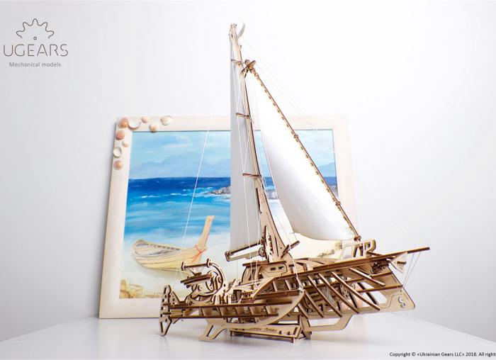 Puzzle 3D Barca Trimaran din lemn Ugears 8