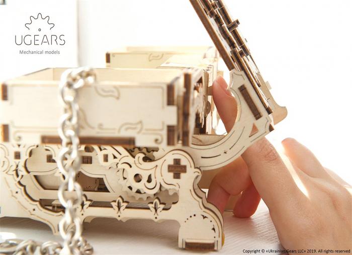 Puzzle 3D Cutie antica de bijuterii Ugears 9