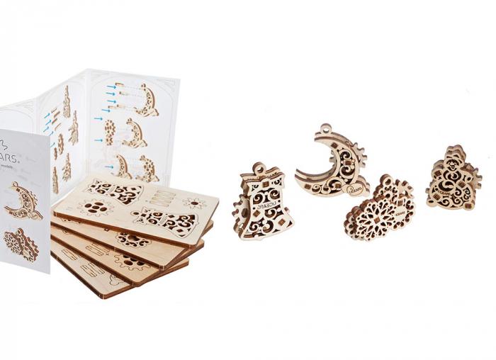 Puzzle 3D Decoratiuni pentru Brad din lemn Ugears 5