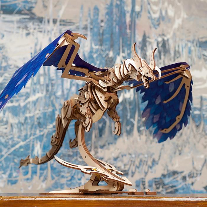 Puzzle 3D Dragonul Furtunii din lemn Ugears [2]