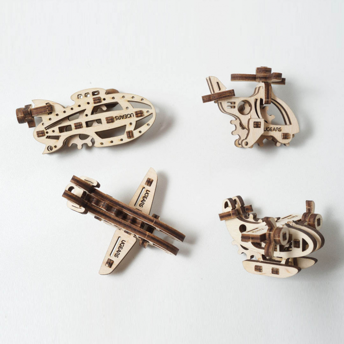 Puzzle 3D Fidget Avioane din Lemn Ugears 0