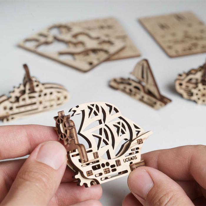 Puzzle 3D Fidget Nave Maritime din Lemn Ugears [0]