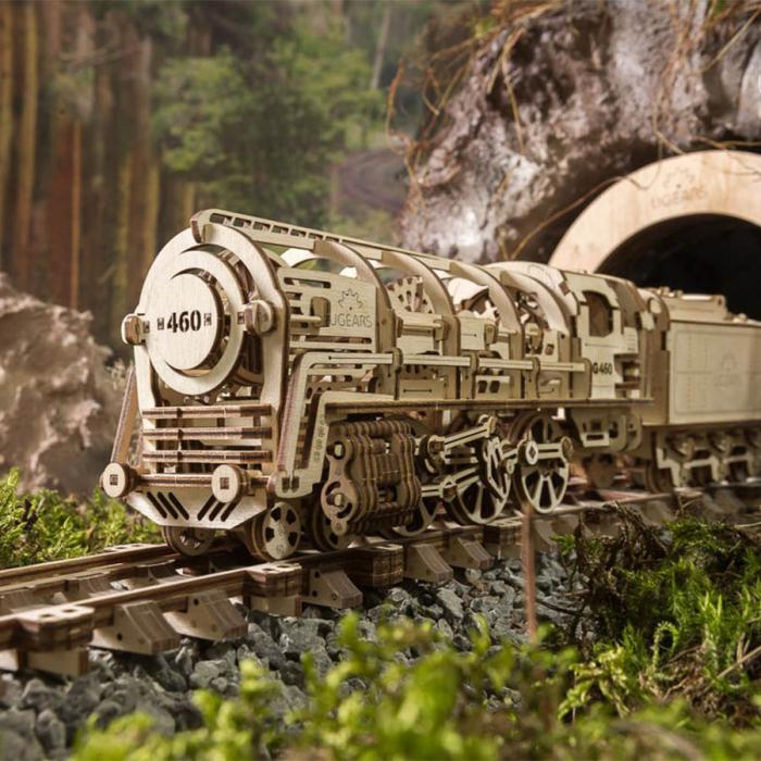 Puzzle 3D Locomotiva cu Aburi si Vagon din Lemn Ugears 0