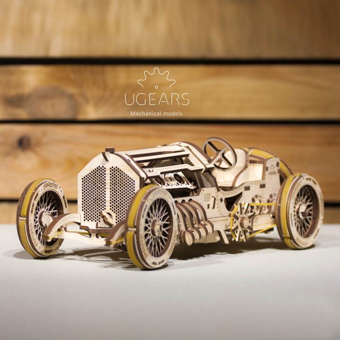 Puzzle 3D Masina Grand Prix U-9 din lemn Ugears 0