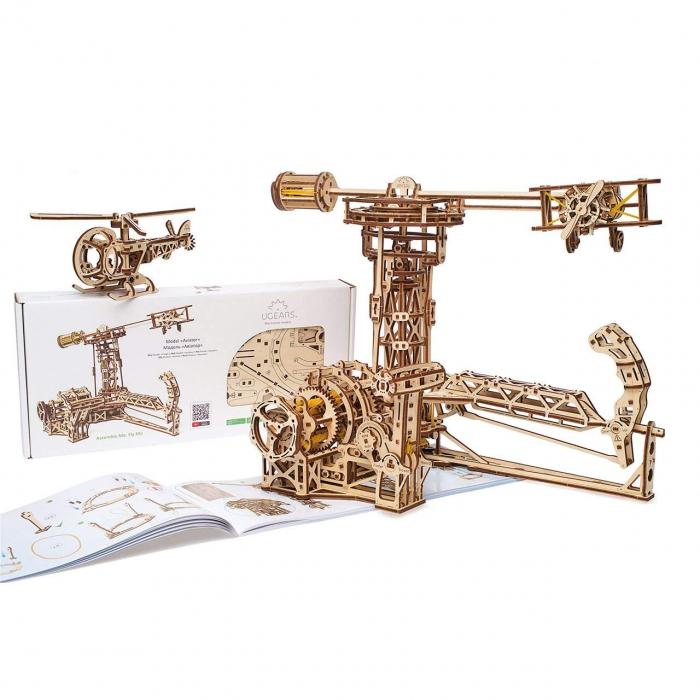 Puzzle 3D Model Aviator din lemn Ugears 21
