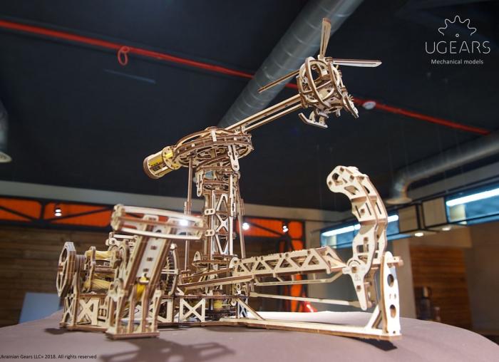 Puzzle 3D Model Aviator din lemn Ugears 18