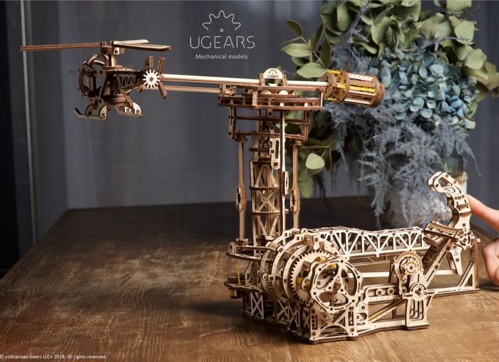 Puzzle 3D Model Aviator din lemn Ugears 8