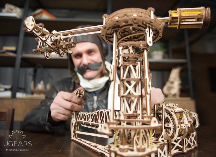 Puzzle 3D Model Aviator din lemn Ugears 9