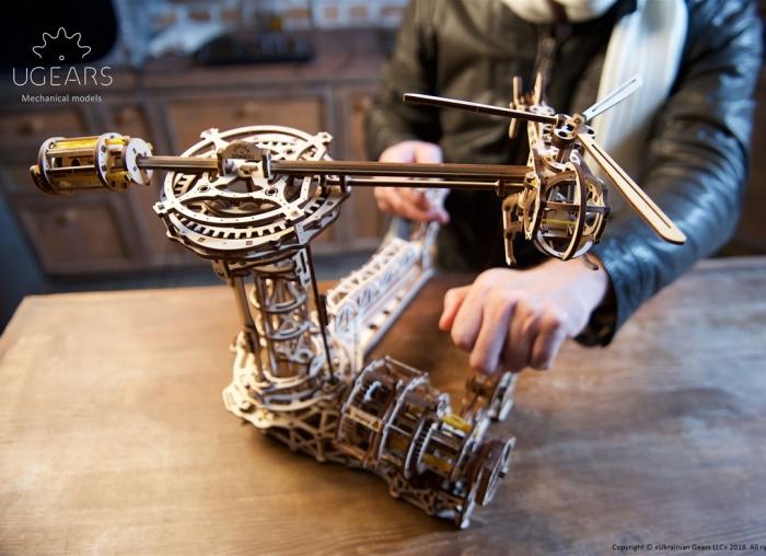 Puzzle 3D Model Aviator din lemn Ugears 5