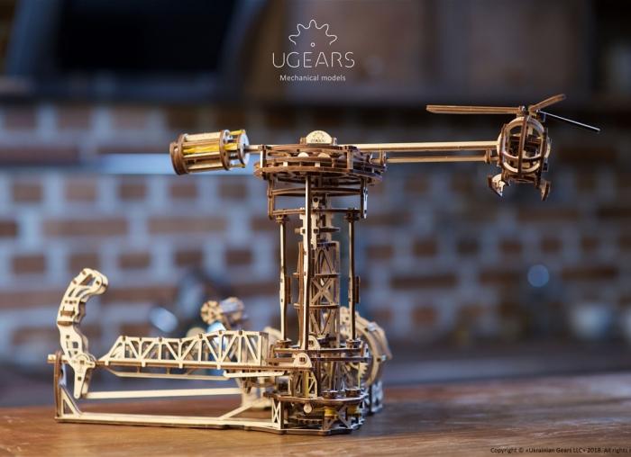 Puzzle 3D Model Aviator din lemn Ugears 15