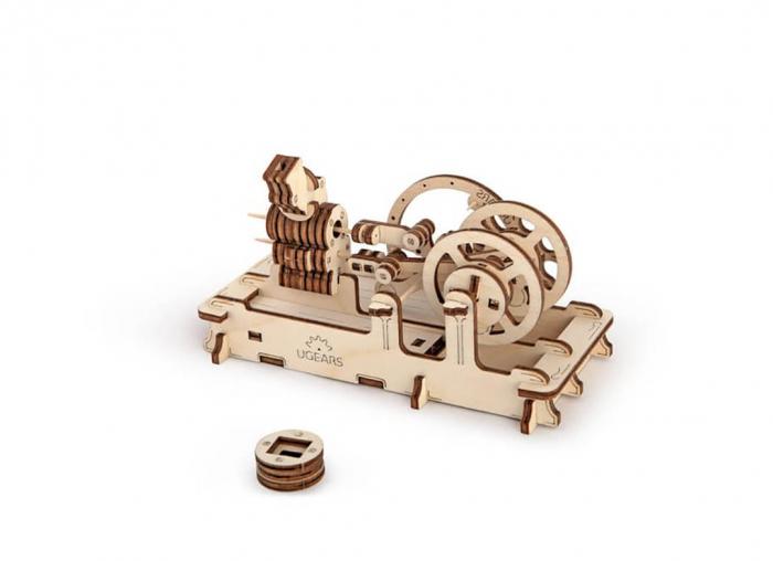 Puzzle 3D Motor Pneumatic din Lemn Ugears 3