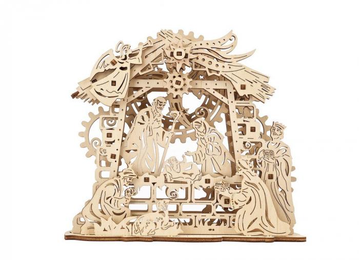 Puzzle 3D Nasterea Domnului, din lemn Ugears 4