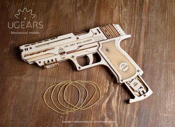Puzzle 3D Pistol Wolf din lemn Ugears 3