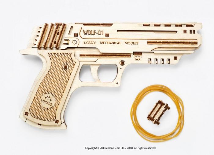 Puzzle 3D Pistol Wolf din lemn Ugears 6