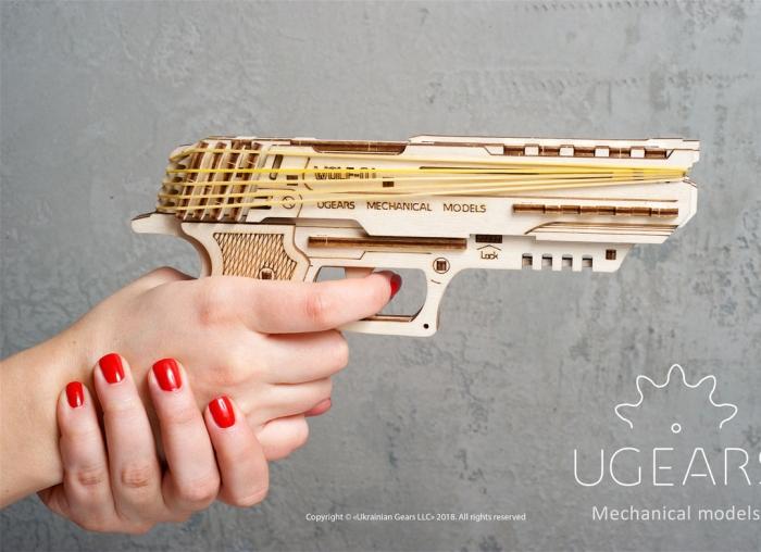 Puzzle 3D Pistol Wolf din lemn Ugears 0