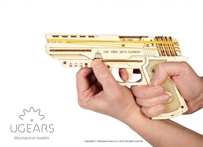 Puzzle 3D Pistol Wolf din lemn Ugears 8