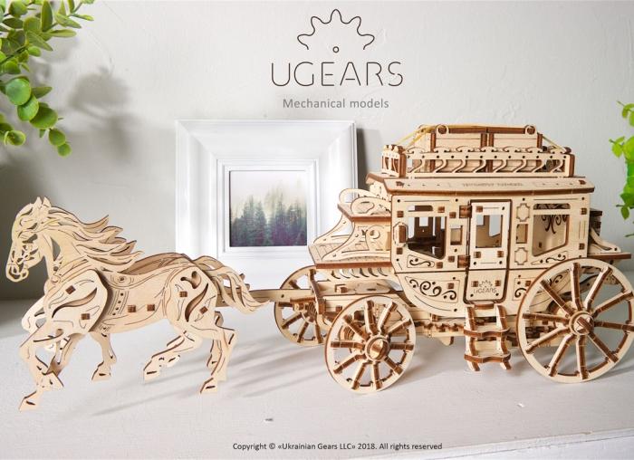 Puzzle 3D Trasura cu cai din lemn Ugears 7