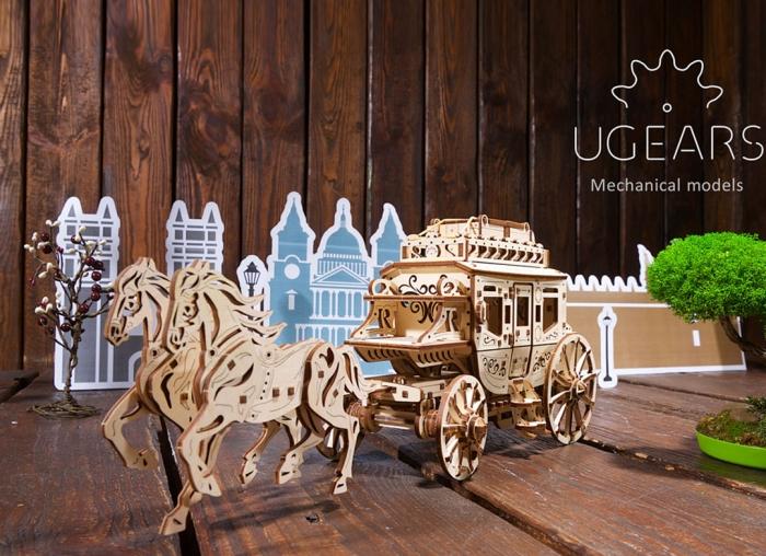 Puzzle 3D Trasura cu cai din lemn Ugears 3