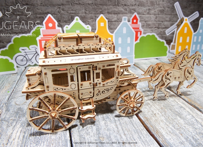 Puzzle 3D Trasura cu cai din lemn Ugears 5