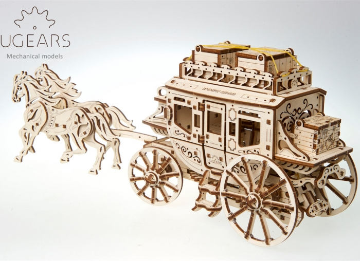 Puzzle 3D Trasura cu cai din lemn Ugears 8