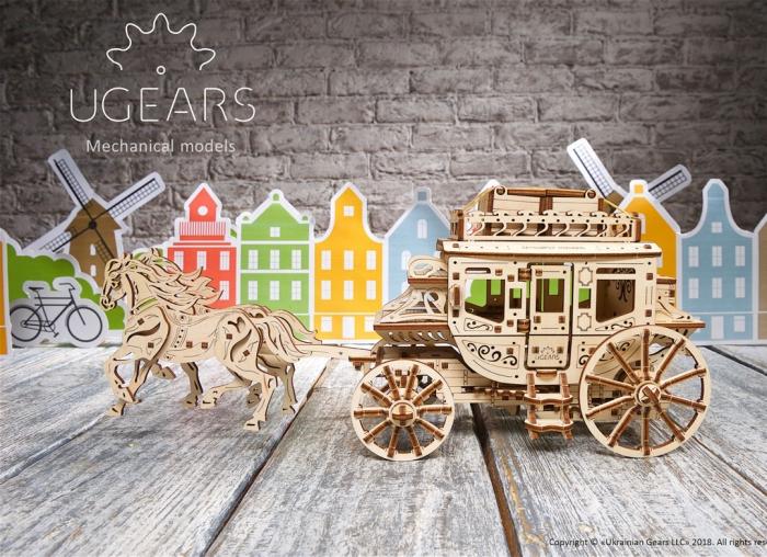 Puzzle 3D Trasura cu cai din lemn Ugears 4