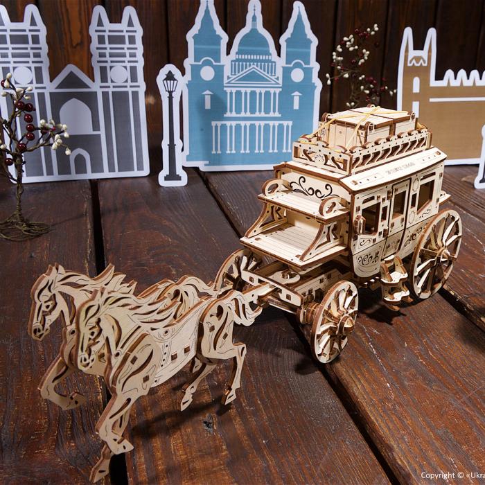 Puzzle 3D Trasura cu cai din lemn Ugears 0