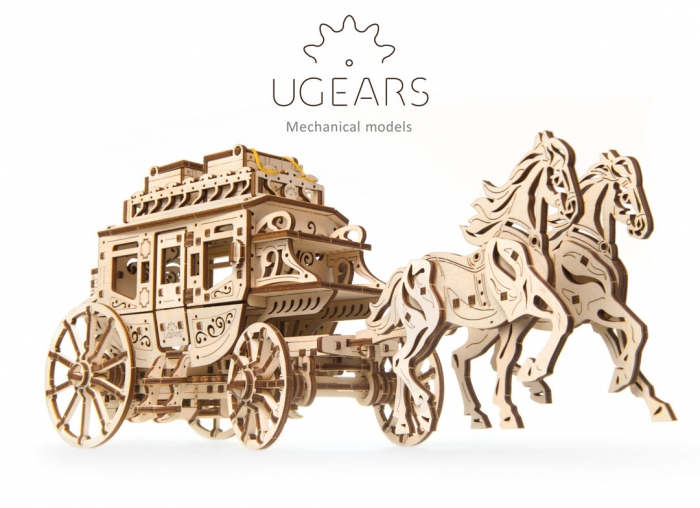 Puzzle 3D Trasura cu cai din lemn Ugears 9