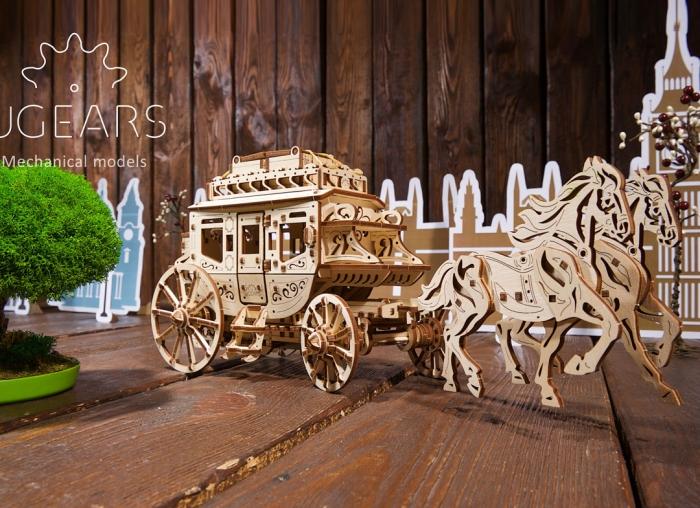 Puzzle 3D Trasura cu cai din lemn Ugears 1