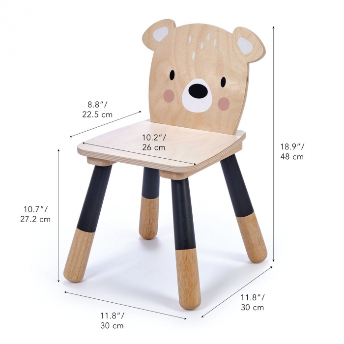 Scaunel din lemn pentru copii, Ursulet 2