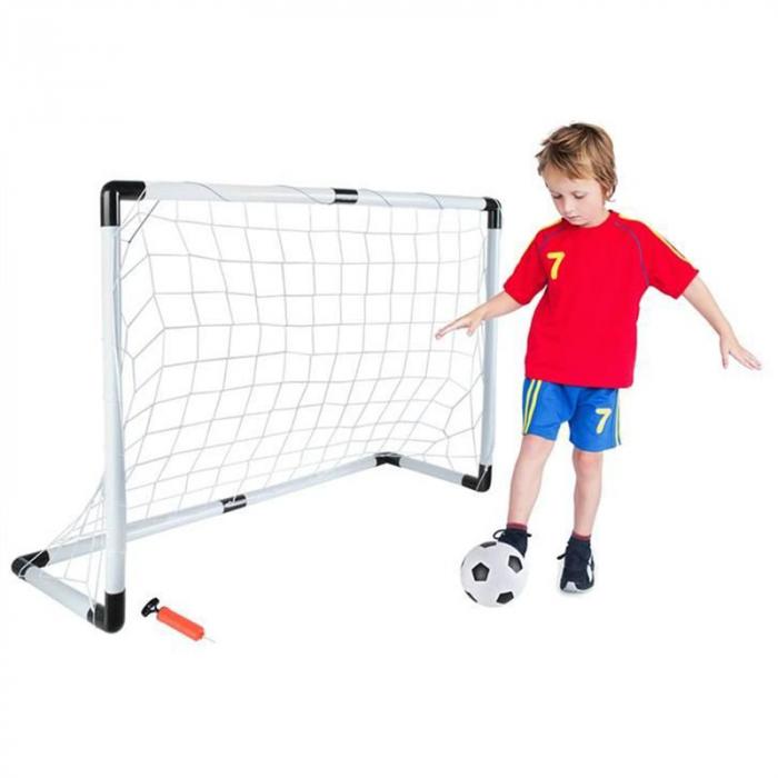 Set cadou fotbal pentru copii, poarta cu plasa, minge si pompa 6