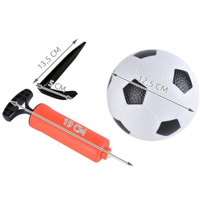 Set cadou fotbal pentru copii, poarta cu plasa, minge si pompa 8