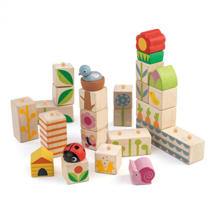 Set cadou jucarii din lemn Cuburi cu ilustratii Gradina fericita, 24 piese 3