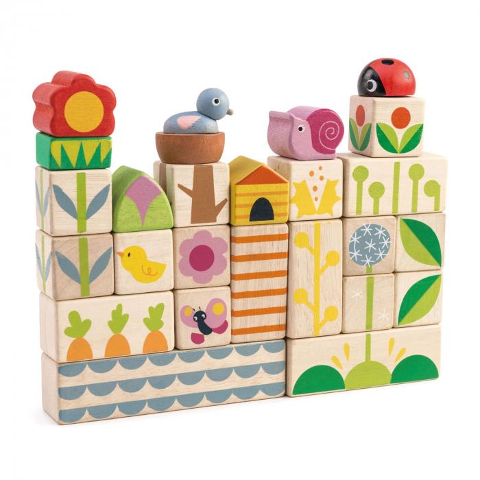 Set cadou jucarii din lemn Cuburi cu ilustratii Gradina fericita, 24 piese 1