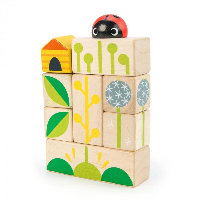 Set cadou jucarii din lemn Cuburi cu ilustratii Gradina fericita, 24 piese 2