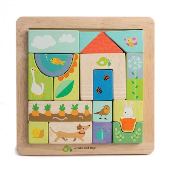 Set cadou jucarii din lemn Ilustratii din Gradina, puzzle cu 17 piese 1