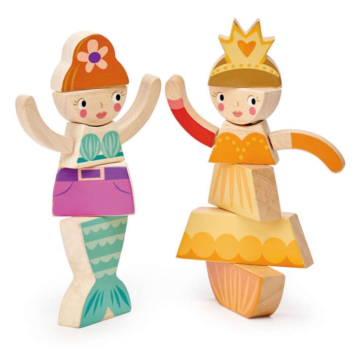 Set cadou jucarii din lemn Printesa si Sirena, puzzle cu 16 piese 4
