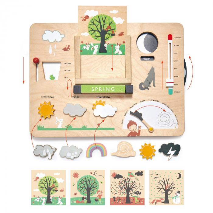 Set cadou jucarii din lemn Statie meteo educativa, 13 piese 4